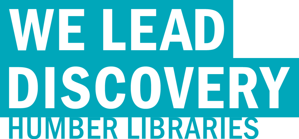 """Humber Libraries logo that reads """"We lead discovery, Humber Libraries""""."""