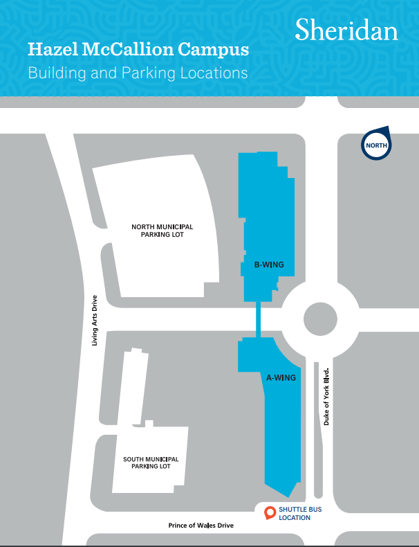 Screenshot of the Hazel McCallion Campus map which indicates where the A-Wing is located as well as the Municipal Parking lots.