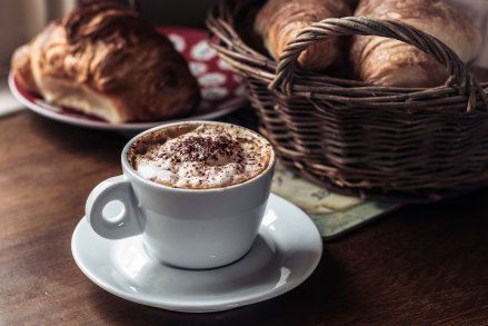Image of baked goods and a cappuccino